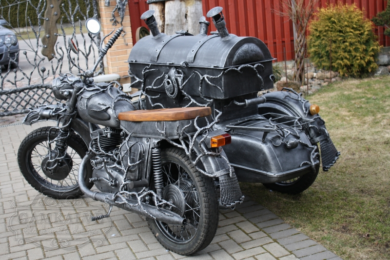 Motorbike (with trailer) shaped blacksmith barbeque