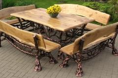 Kalviški lauko baldai stalas su suolais