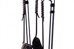 A modern set of fireplace accessories