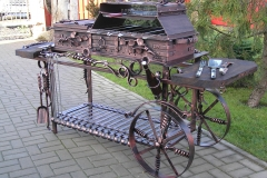 Barbeque with wheels and a cooktop