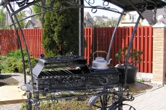 Barbeque with a canopy, a grill and a cooktop