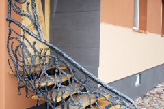 Stair rail interconnected with a canopy